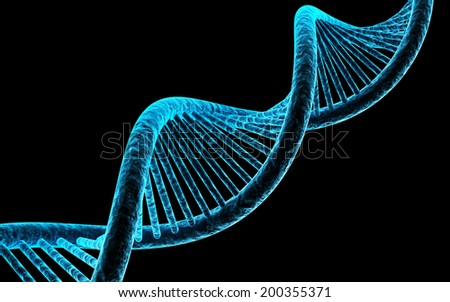 DNA isolated on black background - stock photo