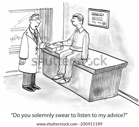 """""""Do you solemnly swear to listen to my advice?"""" - stock photo"""
