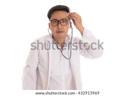 doctor is check up myself. - stock photo