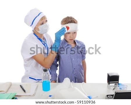 doctor makes a bandage. Isolated on white background - stock photo