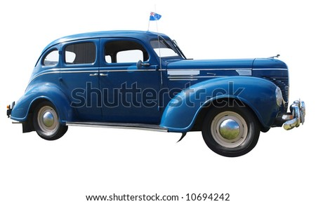 1939 Dodge Sedan flying the New Zealand Flag. Isolated with clipping path