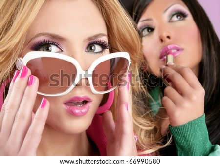 doll style girls pink lipstick makeup white glasses 1980s - stock photo