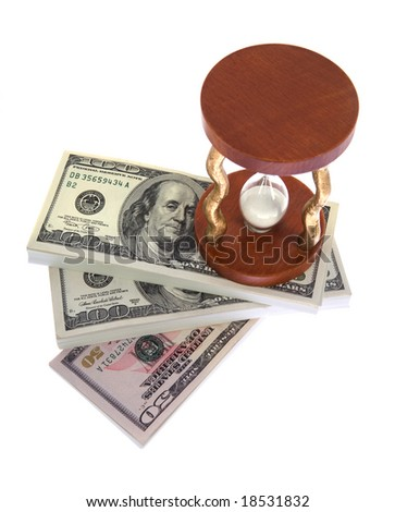 Dollar and hourglass on white background - stock photo