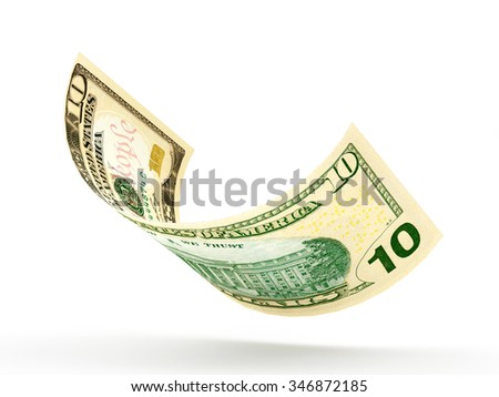 10 dollar banknote curled isolated on white background