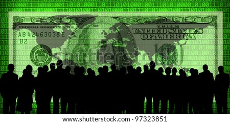 100 dollar bill and business people silhouette - stock photo
