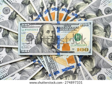 dollar bill on a recurring circular texture money - stock photo