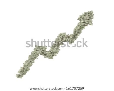 100 dollar bills arrow. - stock photo