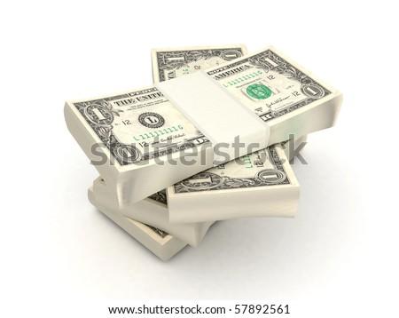 100 dollar bills 3d rendered - stock photo
