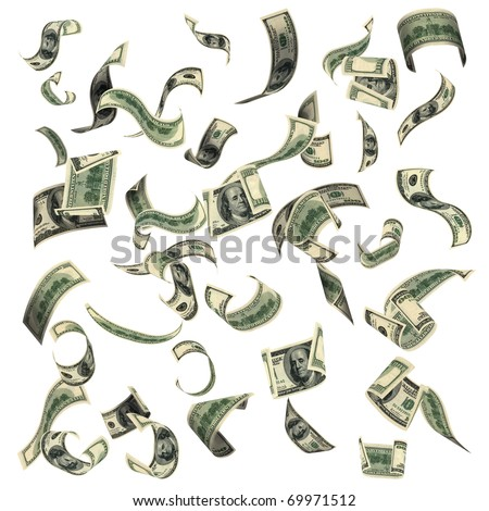100 dollar bills, flying on white background. The image of very big resolution.