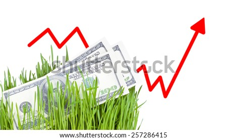 100 dollar bills growing in the green grass. Arrow rising up - stock photo