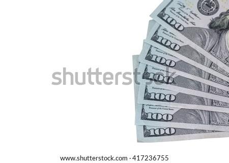 100 dollar bills  isolated - stock photo
