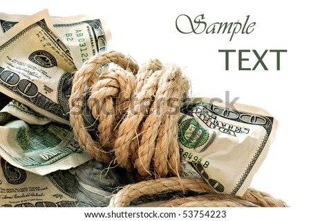 100 dollar bills tied with rope on white background with copy space.  Financial concept - Money tied up