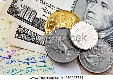 Dollar currency and Czech crown money - exchange rate - economy and finance in international business - import and export - stock photo
