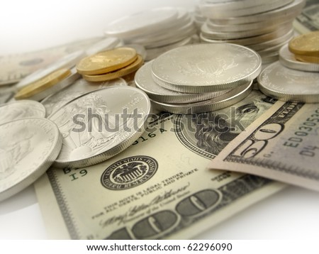 $50 dollar, $100 dollar $25 Gold and $1 Silver U.S. Bullion Coins - stock photo