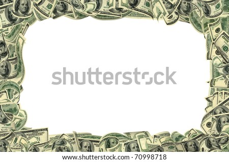 100 dollar frame isolated on white. All banknotes different. For giving realness of money contain elements of deterioration. - stock photo
