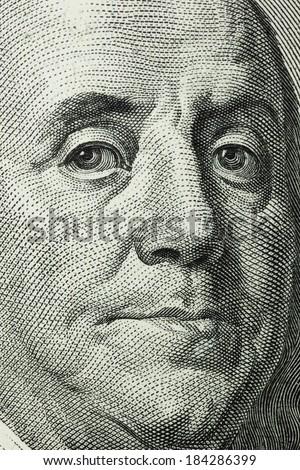 100 dollar macro. Franklin close up - stock photo
