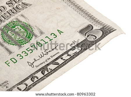 5 dollar note on a white background