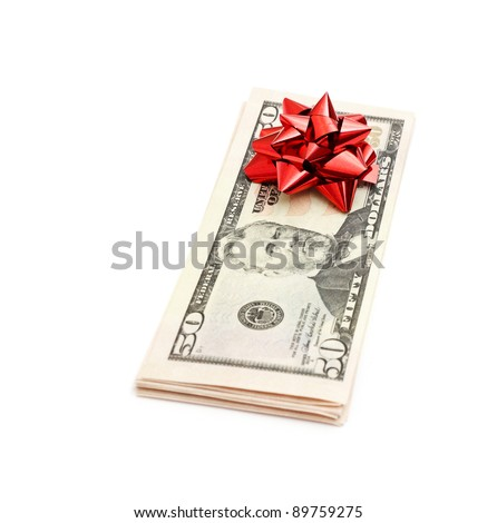50 Dollar with holidays bow isolated on white - stock photo