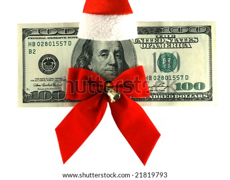 100 dollars banknote dressed in Santa's uniform - stock photo