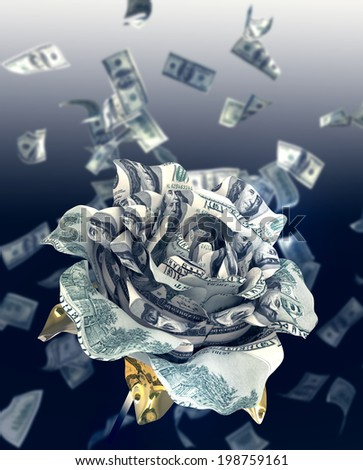 100 dollars banknote fold into rose  - stock photo