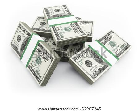 100 dollars bills - stock photo