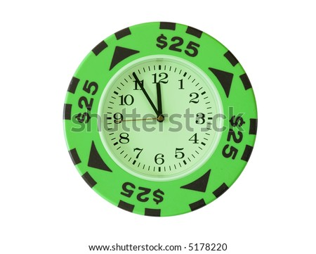 25 dollars casino chip with clock in centre isolated over white background. Gambling or time is money concept. - stock photo