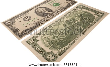 2 dollars isolated on a white background