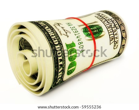 100 dollars on white background - stock photo