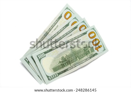 100 dollars ( one hundred dollars banknote ) isolated on white background.  - stock photo