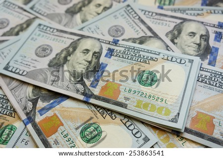 100 Dollars 2009 series background - stock photo