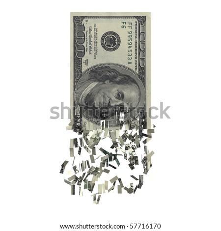 100 dollars tore - stock photo
