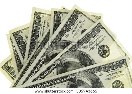 100 Dollars US. Isolated on White Background.