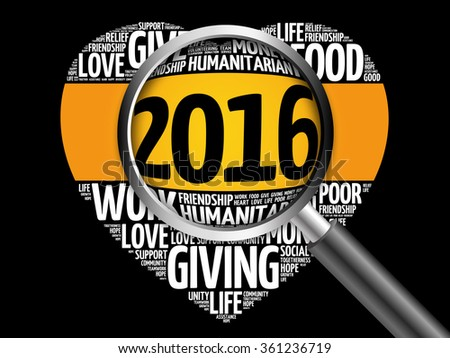 2016 Donate, Humanitarian word cloud with magnifying glass, heart concept