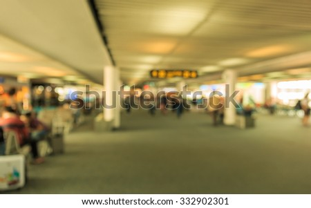 """DONMUANG"" airport THAILAND departure zone in blur and de-focus motion - stock photo"