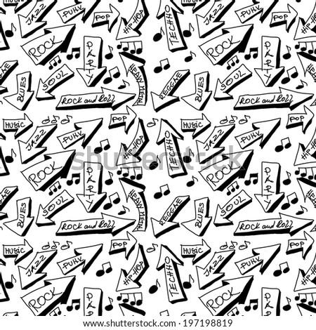 doodle music word seamless texture and pattern