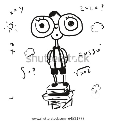 doodle sketch smart boy - stock photo