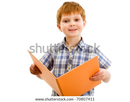 ?dorable young boy with the book - stock photo