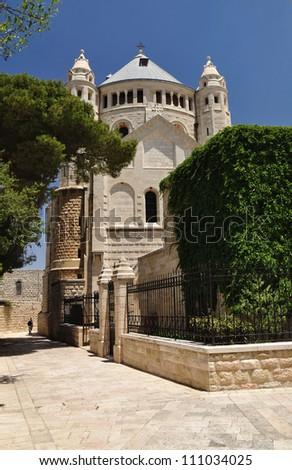 Dormition Abbey. Zion mount. Jerusalem. Israel. - stock photo