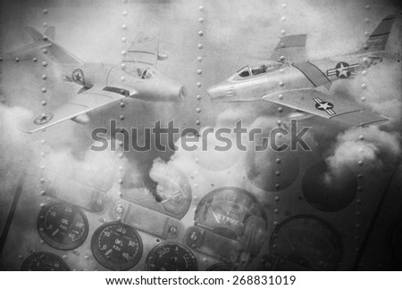'Double exposure vintage grunge style' image of 1950's era vintage fighter aircraft and clouds. Use as background image. - stock photo