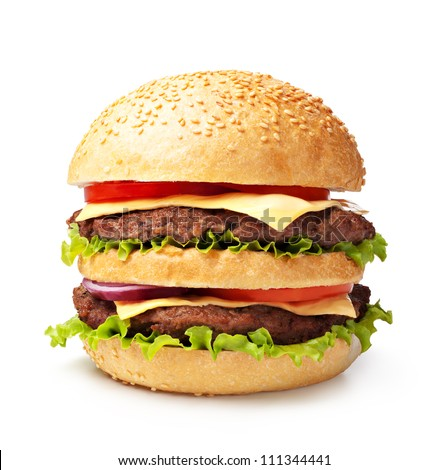 double hamburger isolated on white background - stock photo