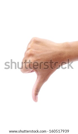 down male hand sign isolated on a white bakground - stock photo