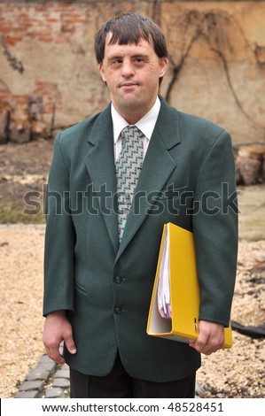 down syndrome business man - stock photo