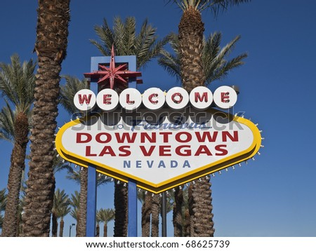 """Downtown Las Vegas"" welcome sign.  Different variation then the ""Las Vegas"" strip welcome sign. - stock photo"