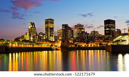 Downtown of Montreal panorama at dusk