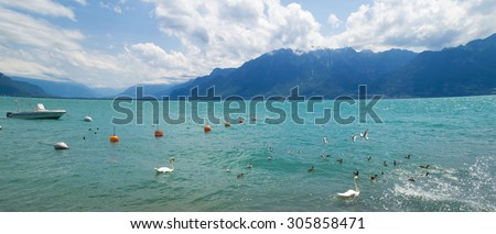 Dramatic summer day on the shore of Geneva Lake at Vevey Riviera, Switzerland