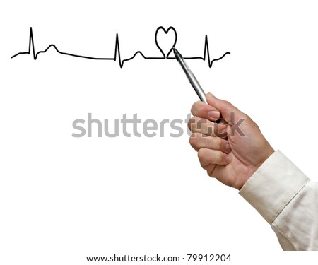 Drawing ECG graph with heart