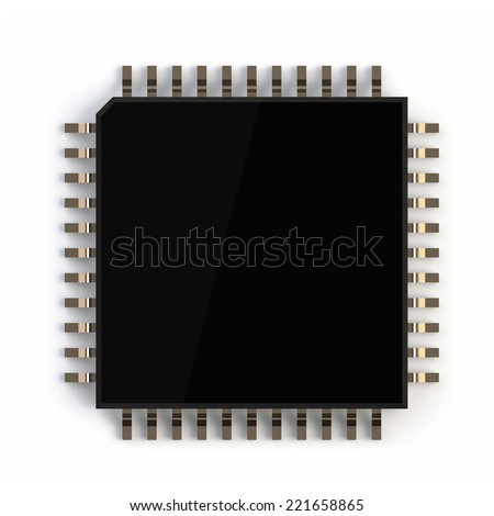 3Drender of computer micro chip isolated on white background - stock photo