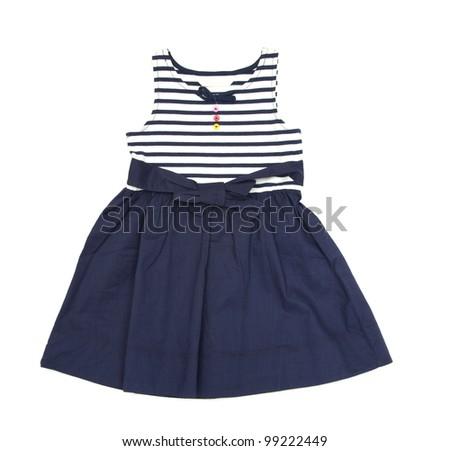 dress for girl on white background - stock photo
