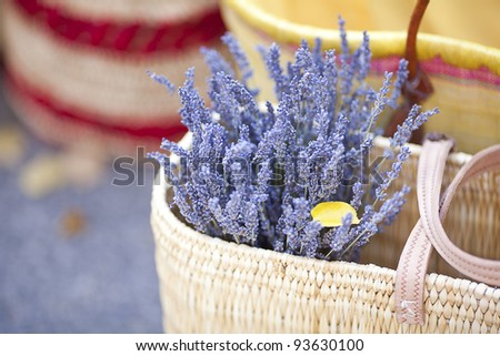 dried lavender flowers in basket at the fair - stock photo