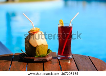 drinks served on luxury tropical resort in Maldives - stock photo